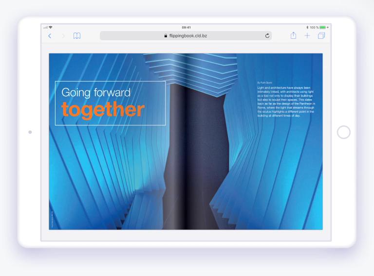 Clean design, realistic page flip effect
