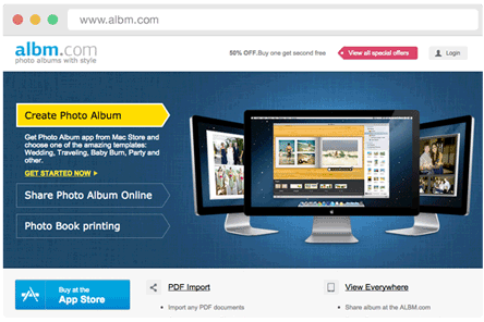 Online sharing on Albm.com