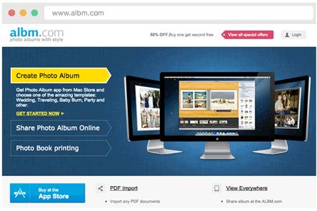Online sharing on Albm.com