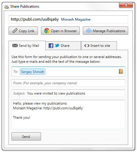 Share Publications Window in FlippingBook Publisher Interface